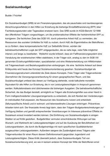 Sozialraumbudget, Stichwort im Fachlexikon der sozialen Arbeit ...