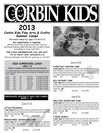 2013 Corbin Kids Fine Arts & Crafts Summer Camps
