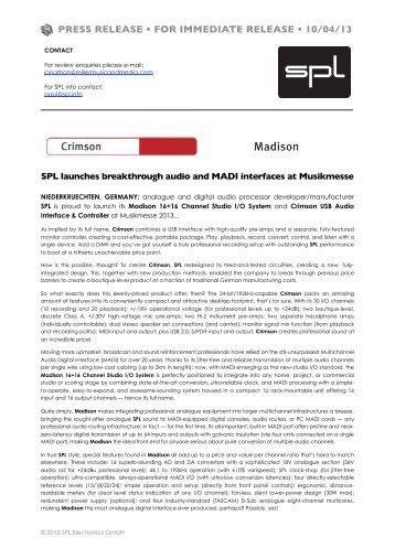 PRESS RELEASE • FOR IMMEDIATE RELEASE • 10/04/13 - SPL