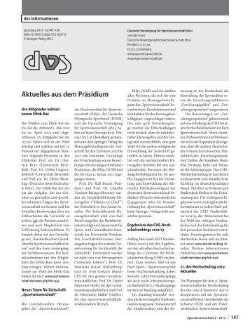 Ausgabe 2 - Deutsche Vereinigung für Sportwissenschaft