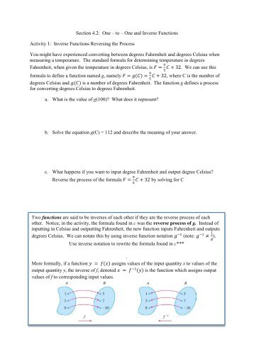 1 Section 4.2: One – to – One and Inverse Functions Activity 1 ... - PCC