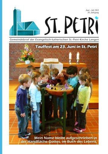 Tauffest am 23. Juni in St. Petri Tauffest am 23. Juni in St. Petri