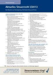 Aktuelles Steuerrecht I-2013 - Stand 11.02.13 - Steuerseminare Graf