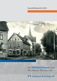 Geschäftsbericht 2012 - Volksbank Braunlage eG