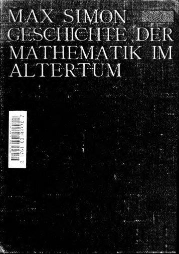Geschichte der Mathematik im Altertum in Verbindung mit antiker ...
