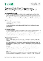 Reglement betreffend der Vergabung von Förderbeiträgen - EBM