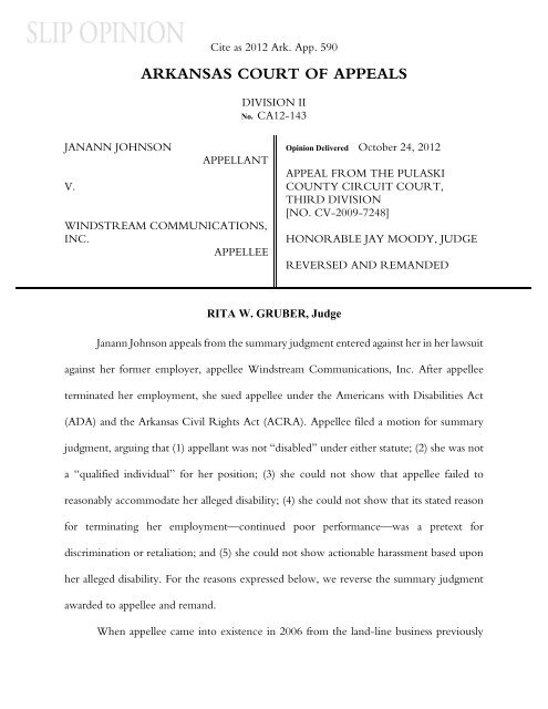 Johnson v  Windstream Commc'ns[Icon] - Court of Appeals