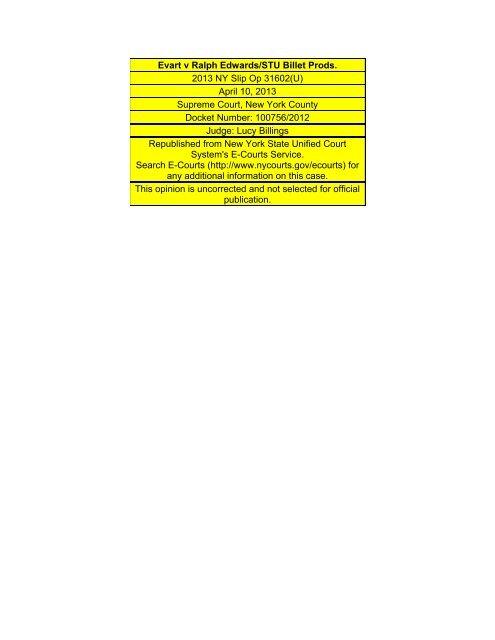 Evart v Ralph Edwards/STU Billet Prods  - Justia