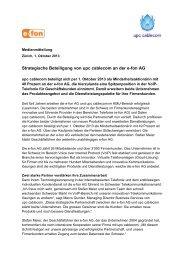 Strategische Beteiligung von upc cablecom an der e-fon AG
