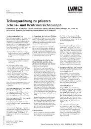 Teilungsordnung zu privaten Lebens- und Rentenversicherungen
