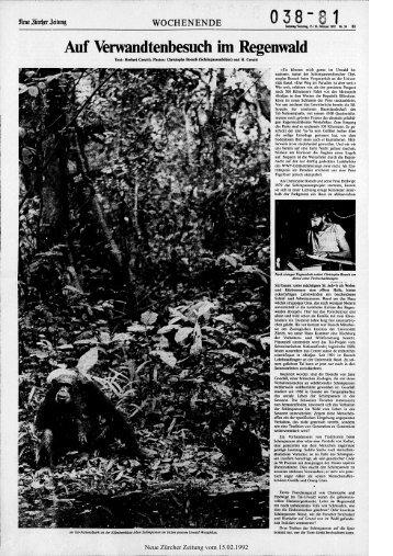 Auf Verwandtenbesuch im Regenwald - Neue Zürcher Zeitung