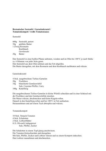 Bretonischer Seeteufel / Garnelenkrustel / Tomatenkompott ... - RPR1