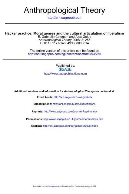 Anthropological Theory - NYU Steinhardt - New York University