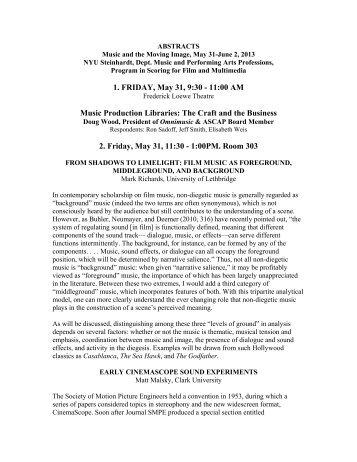 1. FRIDAY, May 31, 9:30 - NYU Steinhardt - New York University