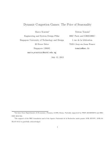 Dynamic Congestion Games: The Price of Seasonality - Studies2