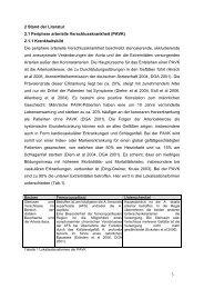 2 Stand der Literatur 2.1 Periphere arterielle Verschlusskrankheit ...