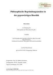 Philosophische Begründungsansätze in der gegenwärtigen Bioethik