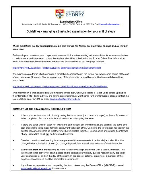 Guidelines for arranging a timetabled examination - The