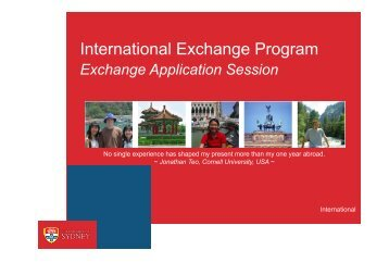 International Exchange Program - The University of Sydney