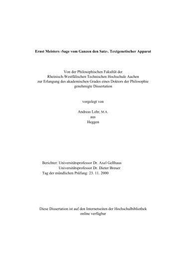 Aachen University Diploma Dissertation