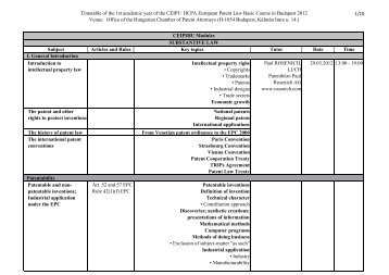 Timetable of the 1st academic year of the CEIPI / HCPA European ...