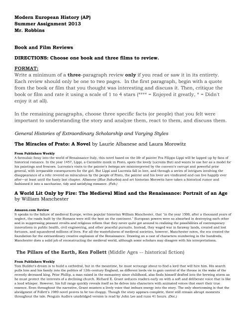 Modern European History (AP) Summer Assignment     - TeacherWeb