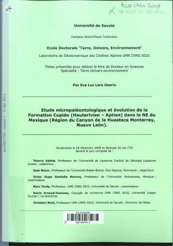 [tel-00811791, v1] Etude micropaléontologique et évolution de la ...