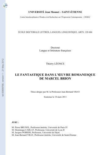 Le fantastique dans l'oeuvre romanesque de Marcel Brion