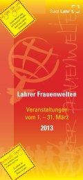 Lahrer Frauenwelten 2013 - Flyer - Stadt Lahr