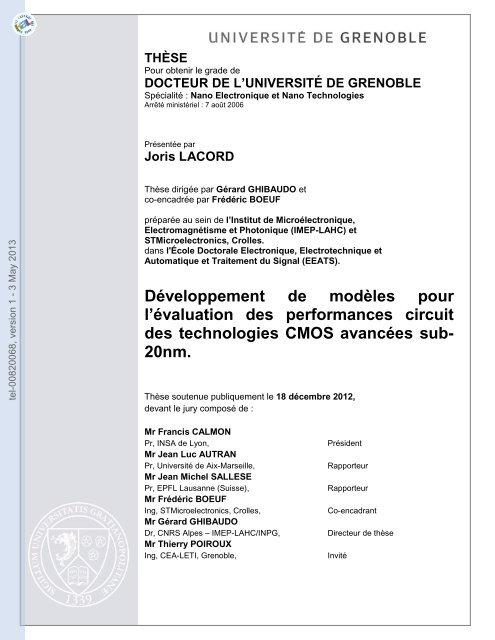 Développement de modèles pour l'évaluation des performances ...