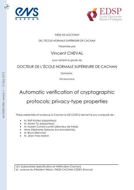 Vérification automatique des protocoles cryptographiques ...