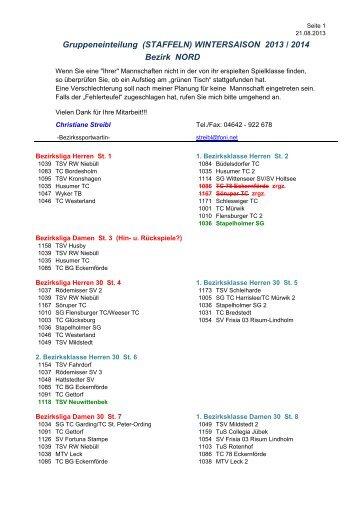 Gruppeneinteilung (STAFFELN) WINTERSAISON 2013 / 2014 ...