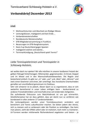 Verbandsbrief Dezember 2013 - Tennisverband Schleswig-Holstein