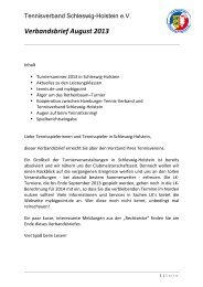 Verbandsbrief August 2013 - Tennisverband Schleswig-Holstein
