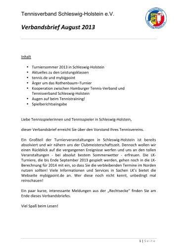 Verbandsbrief August 2013 - Tennisverband Schleswig-Holstein