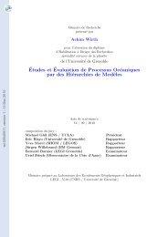 Etudes et évaluation de processus océaniques par des hiérarchies ...