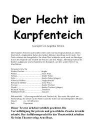 """Auszug von """"Der Hecht im Karpfenteich"""" - Theaterverlag Arno Boas"""