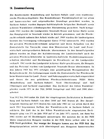 Entwicklung der Reitpferdezucht in ... - Tiho Bibliothek elib