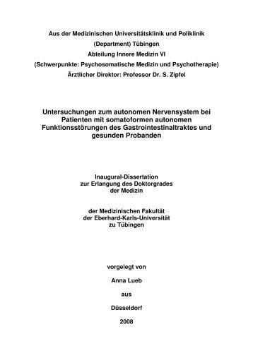 Untersuchungen zum autonomen Nervensystem bei Patienten mit ...