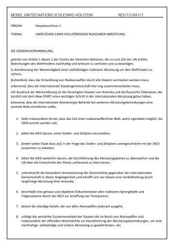 Umsetzung einer vollständigen nuklearen Abrüstung - Deutsche ...