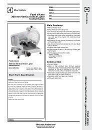 Food slicers 300 mm Vertical Slicer, gear transmission ... - Electrolux
