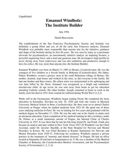 Emanuel Windholz: The Institute Builder - International Psychoanalysis