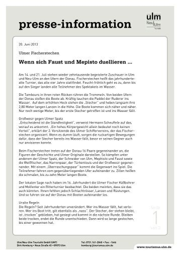 pdf: Ulmer Fischerstechen - Ulm/Neu-Ulm