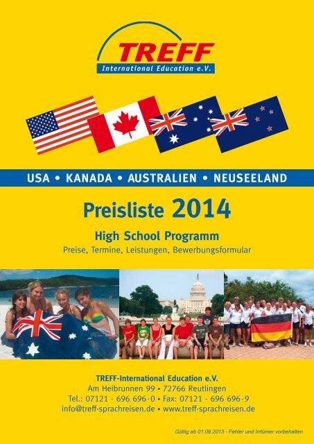 Preisliste High School 2014 USA. Kanada, Australien, Neuseeland