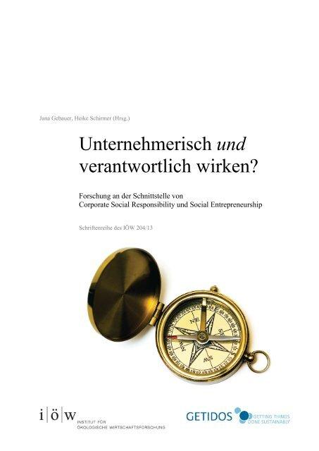 Unternehmerisch und verantwortlich wirken - Institut für ökologische ...