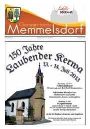 Jahrgang 54 Freitag, den 12. Juli 2013 Nummer 28 - Memmelsdorf