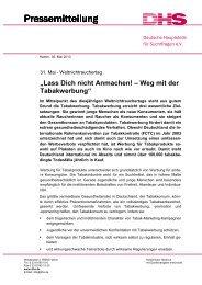 Pressemeldung - Deutsche Hauptstelle für Suchtfragen e.V.