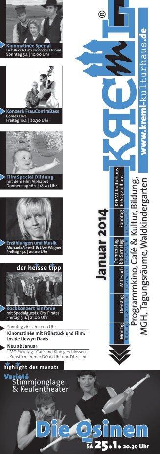 Kremlprogramm JANUAR (pdf.Datei) - Kreml Kulturhaus