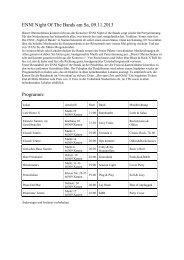 ENNI Night Of The Bands am Sa, 09.11.2013 Programm: