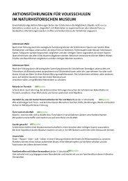 Aktionsführungen für die 1. bis 4. Schulstufe - Naturhistorisches ...